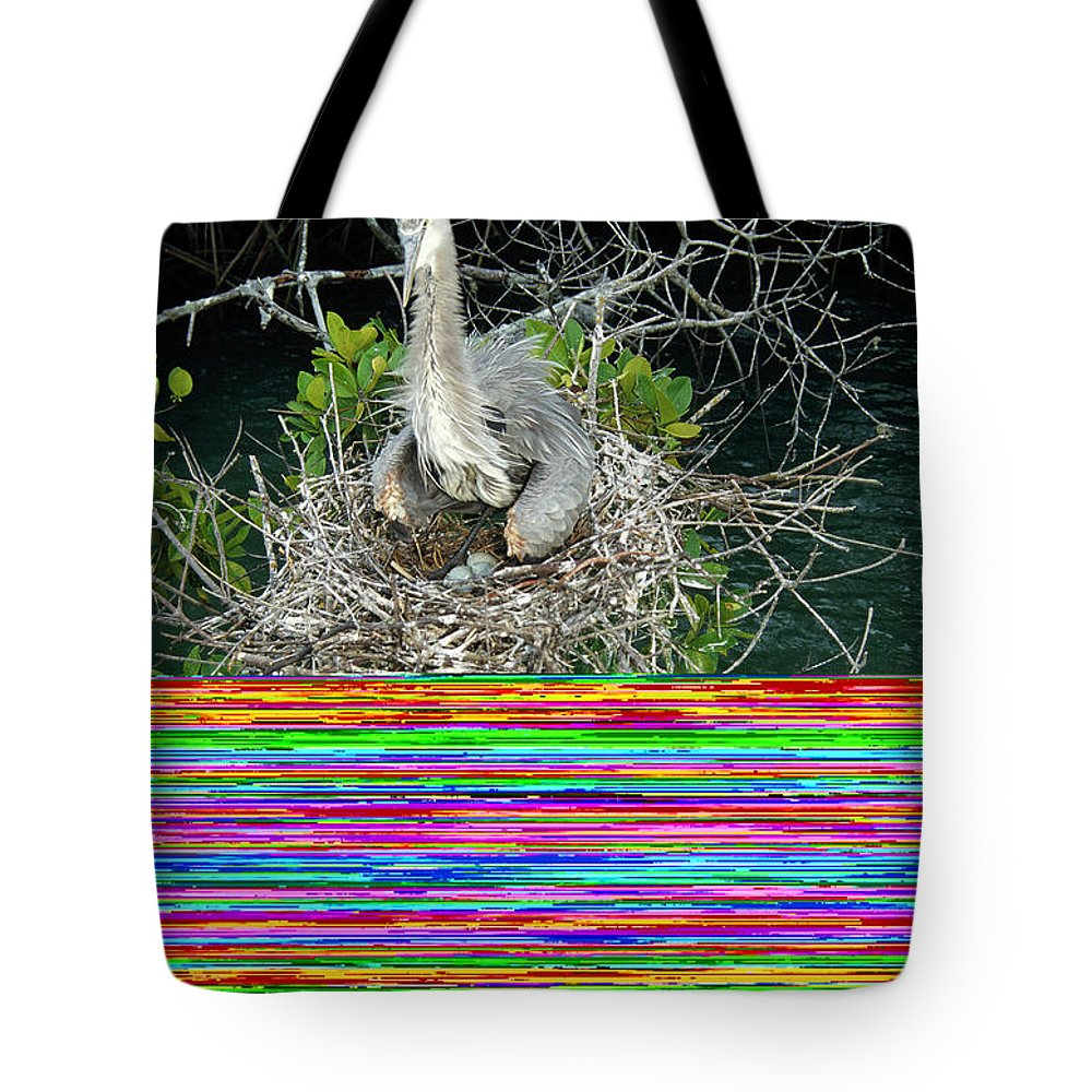 Academy Bay Tote Bag featuring the photograph Great Blue Heron Ardea Herodias Nesting by Tui De Roy