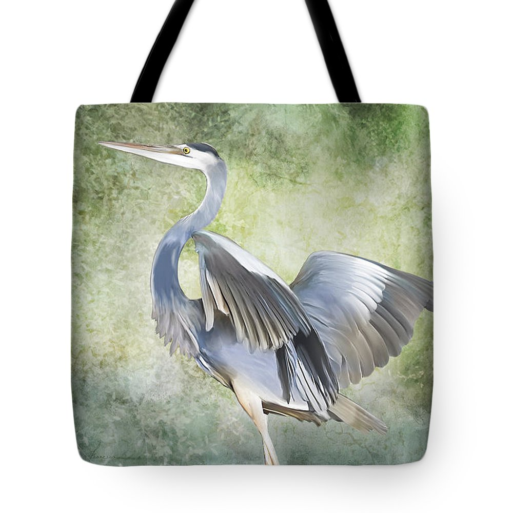 Heron; Great; Blue; Bird; Fowl; Waterfowl; Tropical; Tropic; Flight; Fly; Flying; Wings; Winged; Portrait; Swamp; Swampland; Marsh; Marshland; Landscape; Animal; Creature Tote Bag featuring the digital art Great Blue Heron by Francesa Miller