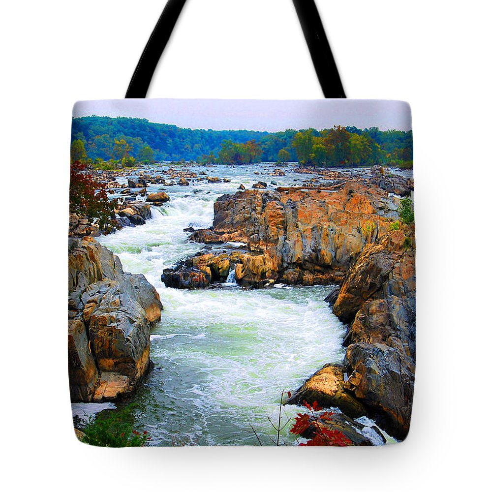 Great Falls Tote Bag featuring the digital art Great Falls On The Potomac River In Virginia by Eva Kaufman