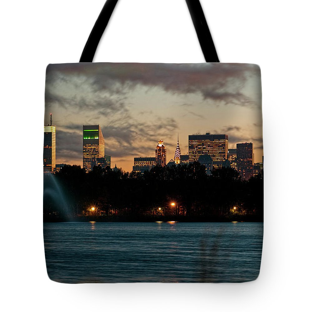 Central Park Tote Bag featuring the photograph Great Pond Fountain by S Paul Sahm