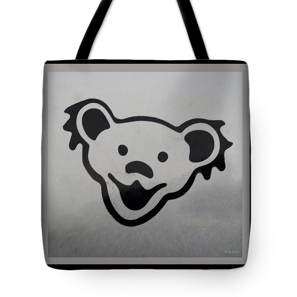 Greatful Dead Tote Bag featuring the photograph Greatful Dead Dancing Bear In Black And White by Rob Hans