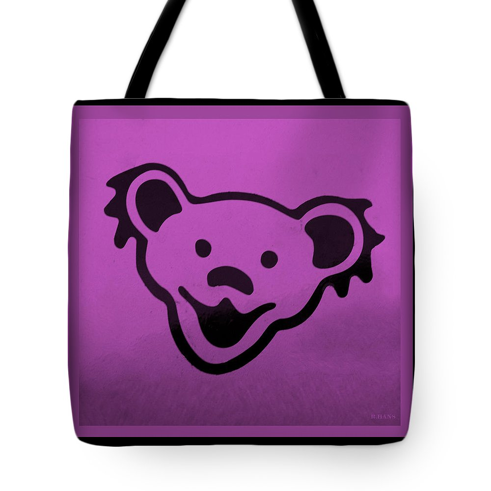 Greatful Dead Tote Bag featuring the photograph Greatful Dead Dancing Bear In Pink by Rob Hans