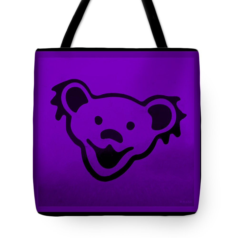 Greatful Dead Tote Bag featuring the photograph Greatful Dead Dancing Bear In Purple by Rob Hans