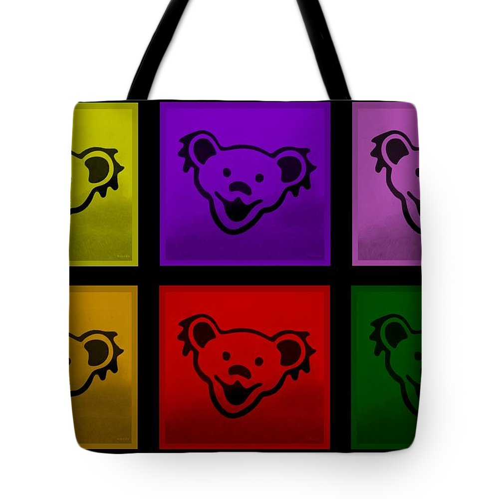 Greatful Dead Tote Bag featuring the photograph Greatful Dead Dancing Bears In Multi Colors by Rob Hans