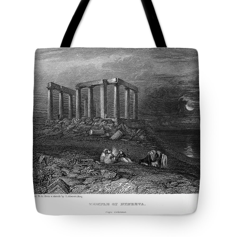 1832 Tote Bag featuring the photograph Greece: Cape Sounion, 1832 by Granger