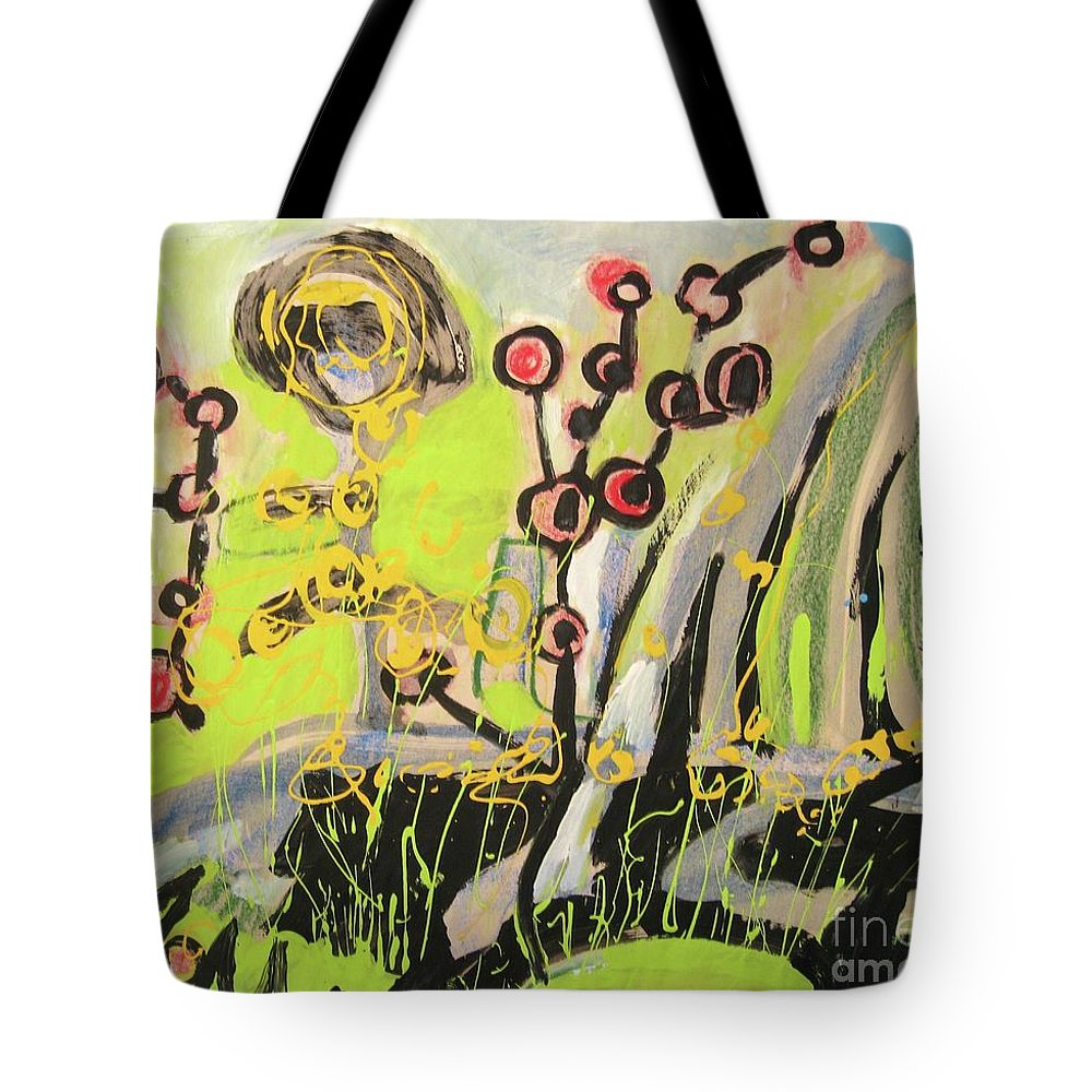Green And Blue Paintings Tote Bag featuring the painting Green And Blue Weed Painting by Seon-Jeong Kim