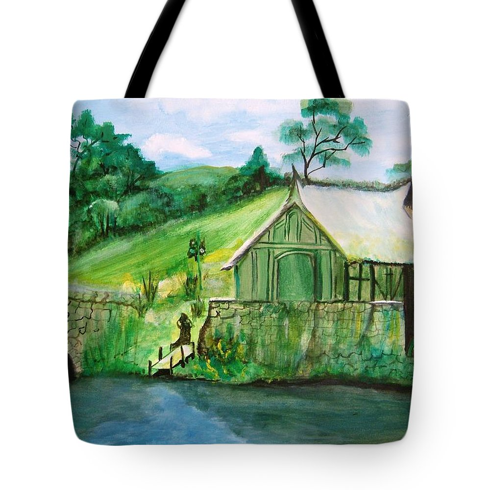 Green Tote Bag featuring the painting Green Cottage by Manjiri Kanvinde