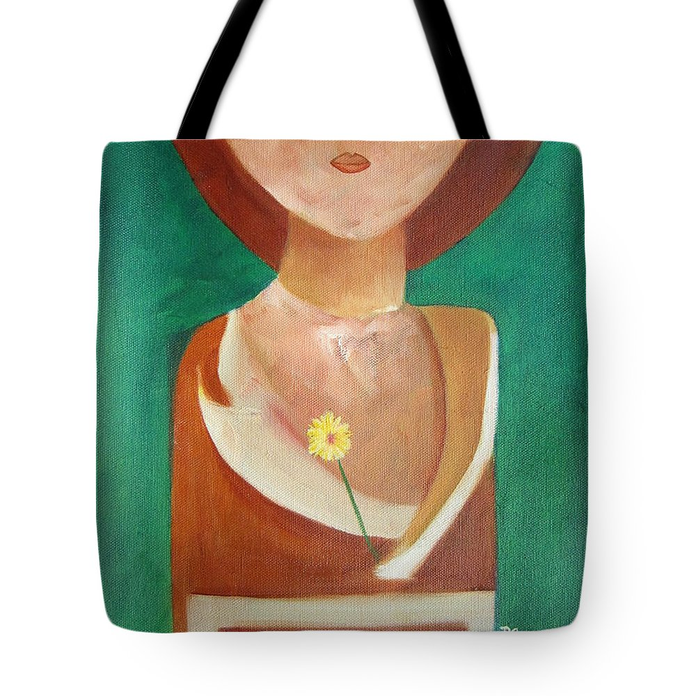 Original Tote Bag featuring the painting Green Eyes by Patricia Cleasby