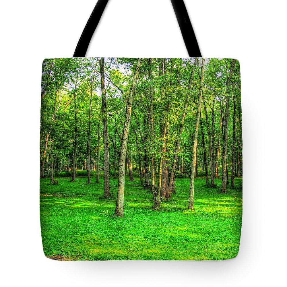 Green Tote Bag featuring the photograph Green Floored Forest by Jackie Novak