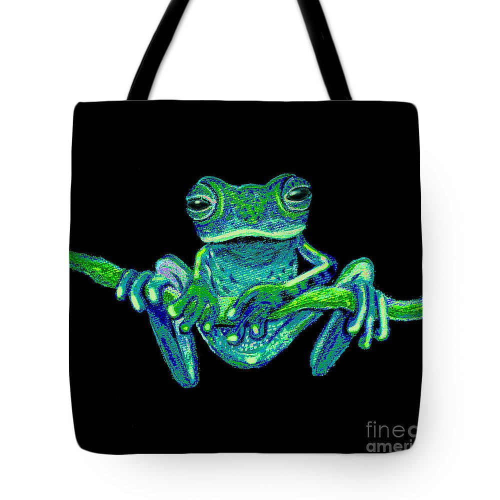 Green Ghost Frog Tote Bag featuring the painting Green Ghost Frog by Nick Gustafson