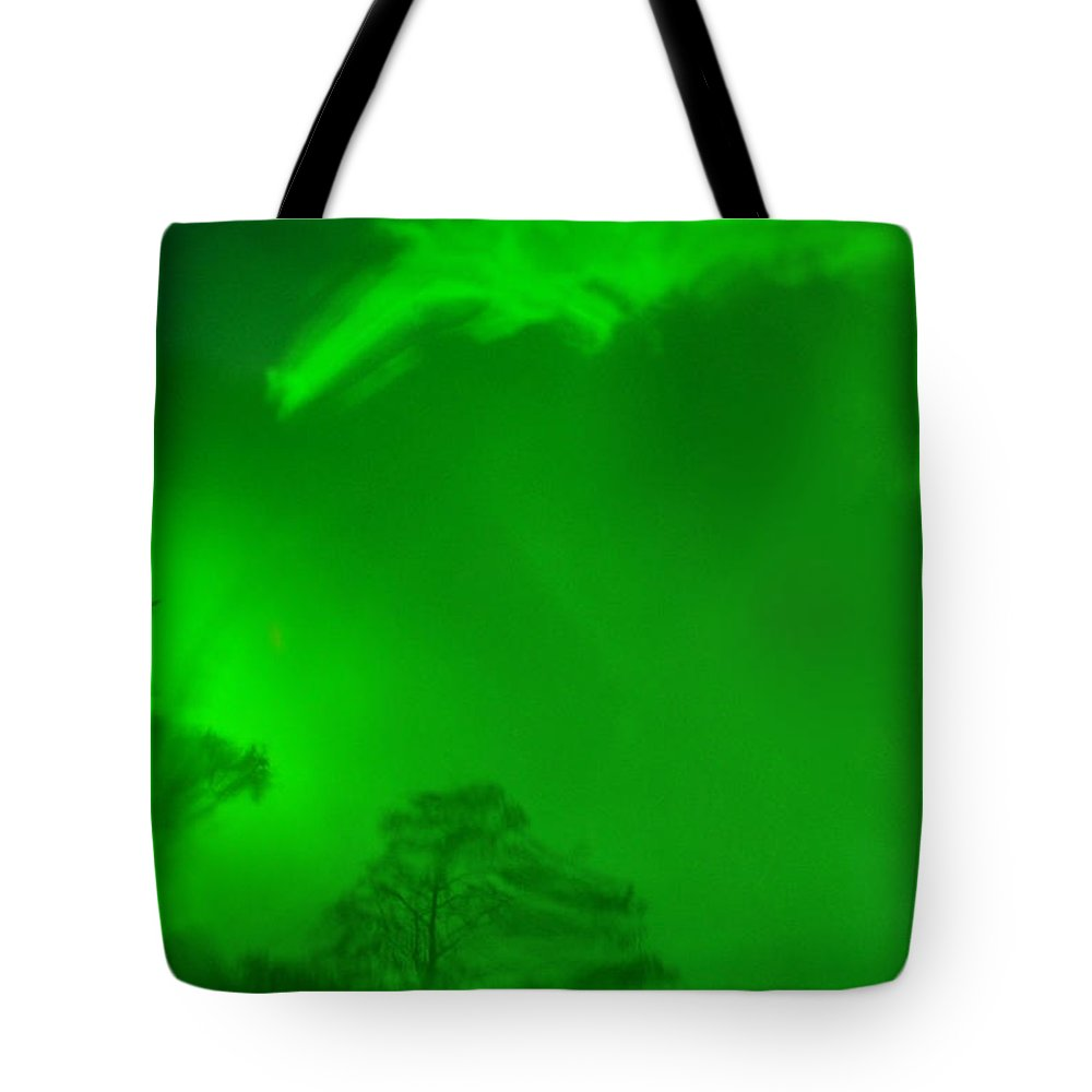 Green Sky Tote Bag featuring the photograph Green Sky River by Christine Stonebridge