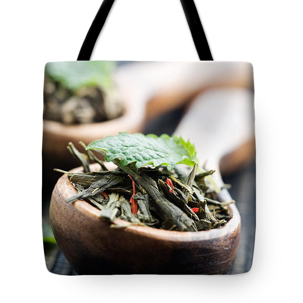 Aroma Tote Bag featuring the photograph Green Tea by Kati Finell