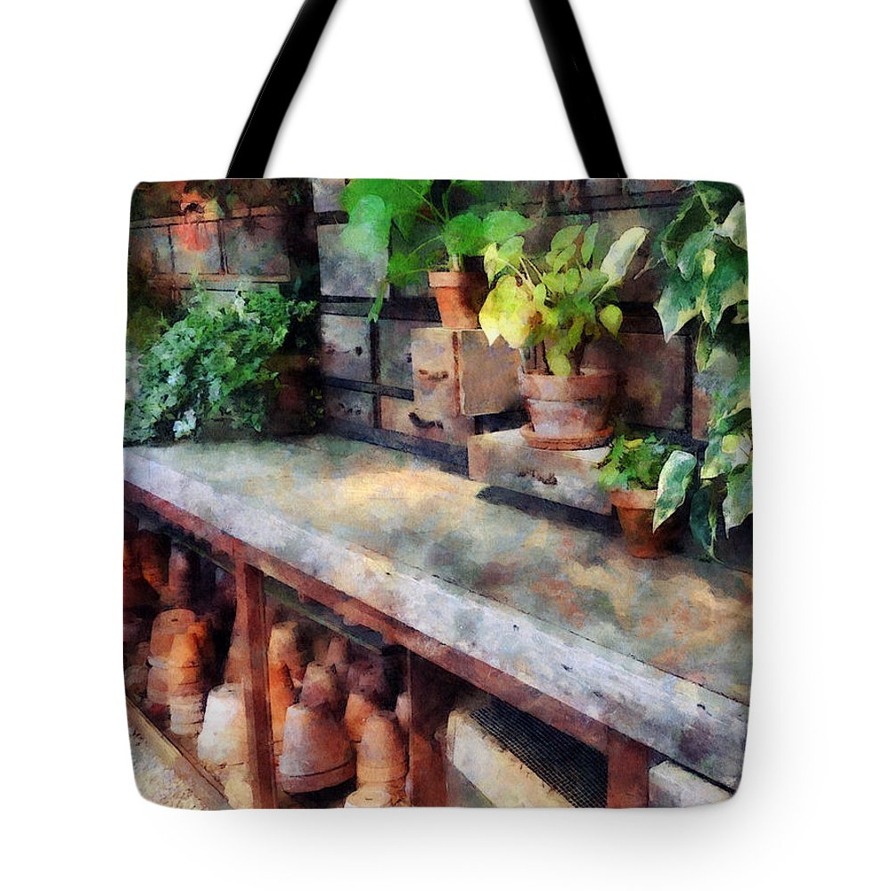 Greenhouse Tote Bag featuring the photograph Greenhouse With Flowerpots by Susan Savad