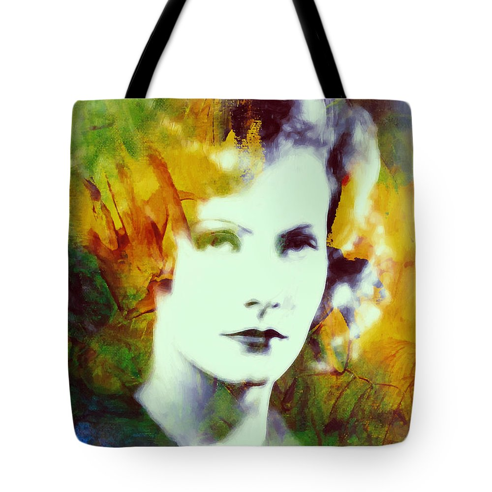 Greta Garbo Actress Famous Beauty Face Portrait Expressionism Impressionism Tote Bag featuring the painting Greta Garbo Abstract Pop Art by Steve K