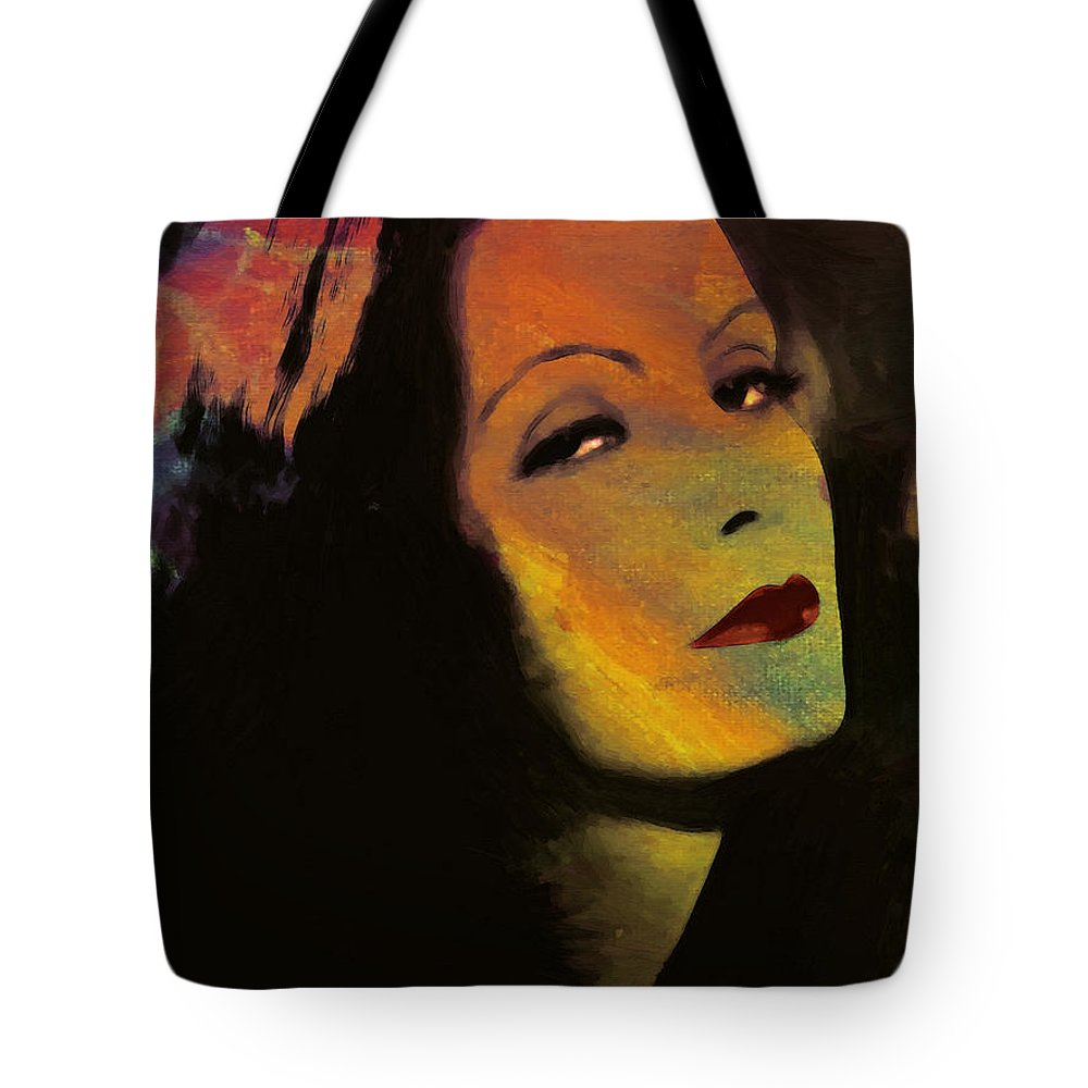 93fd16969f3 Greta Garbo Actress Famous Beauty Face Portrait Expressionism Impressionism  Tote Bag featuring the painting Greta Garbo