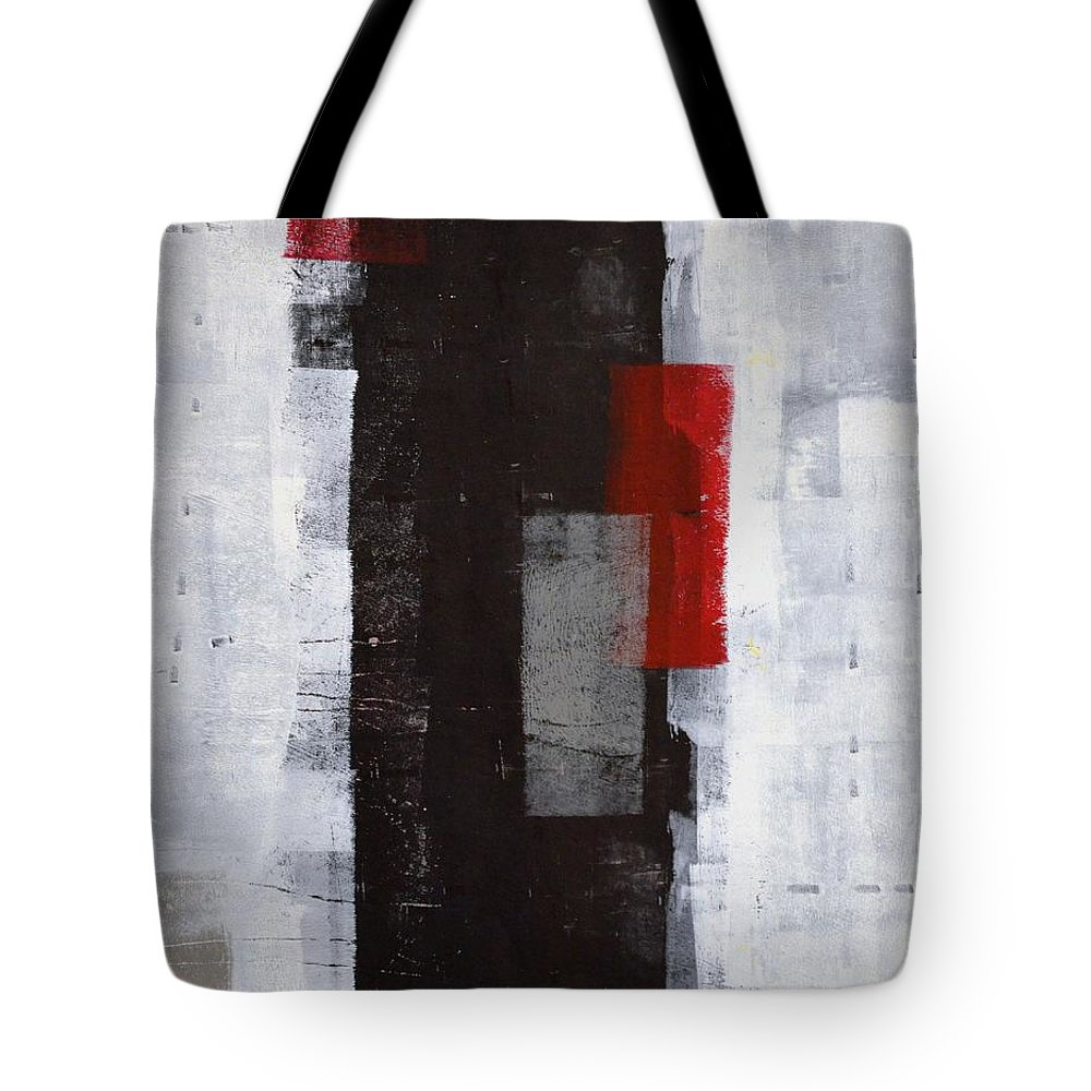Red Tote Bag featuring the painting Power Trip - Grey And Red Abstract Art Painting by CarolLynn Tice