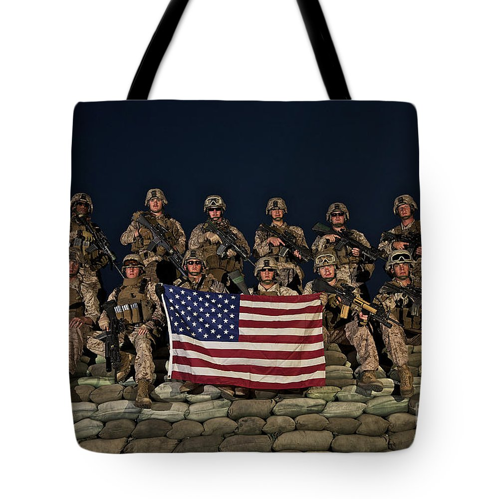 Bunker Tote Bag featuring the photograph Group Photo Of U.s. Marines by Terry Moore
