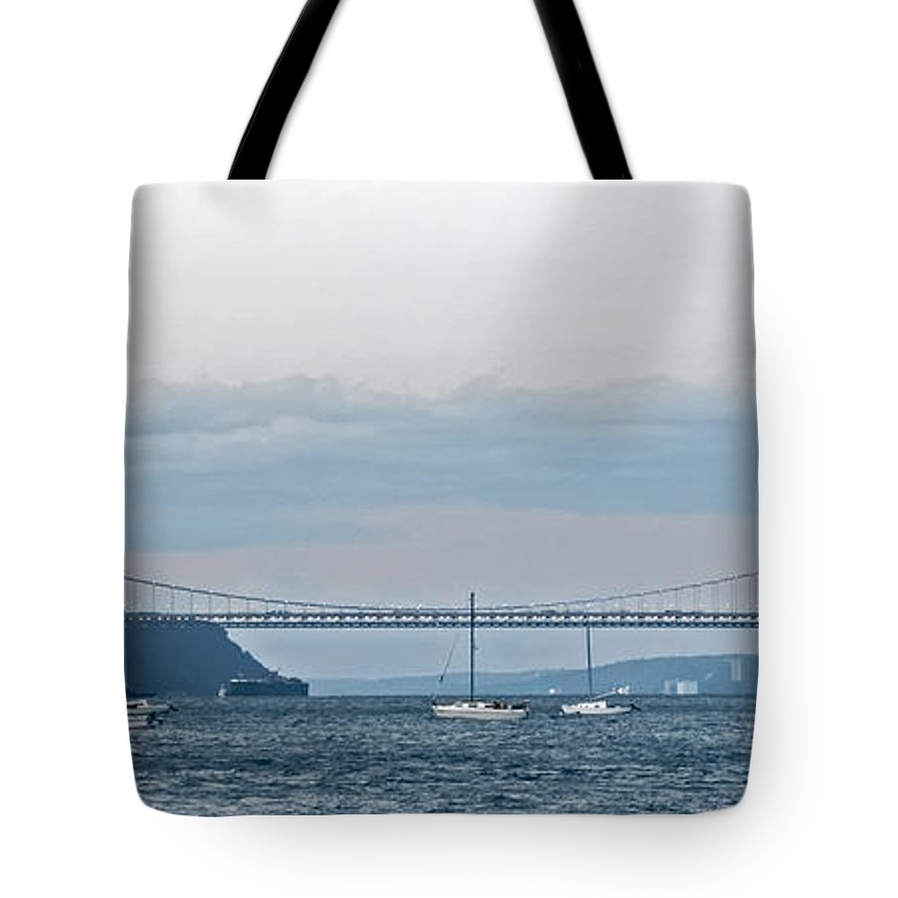 Panoramic Tote Bag featuring the photograph Gwb Sunset by S Paul Sahm
