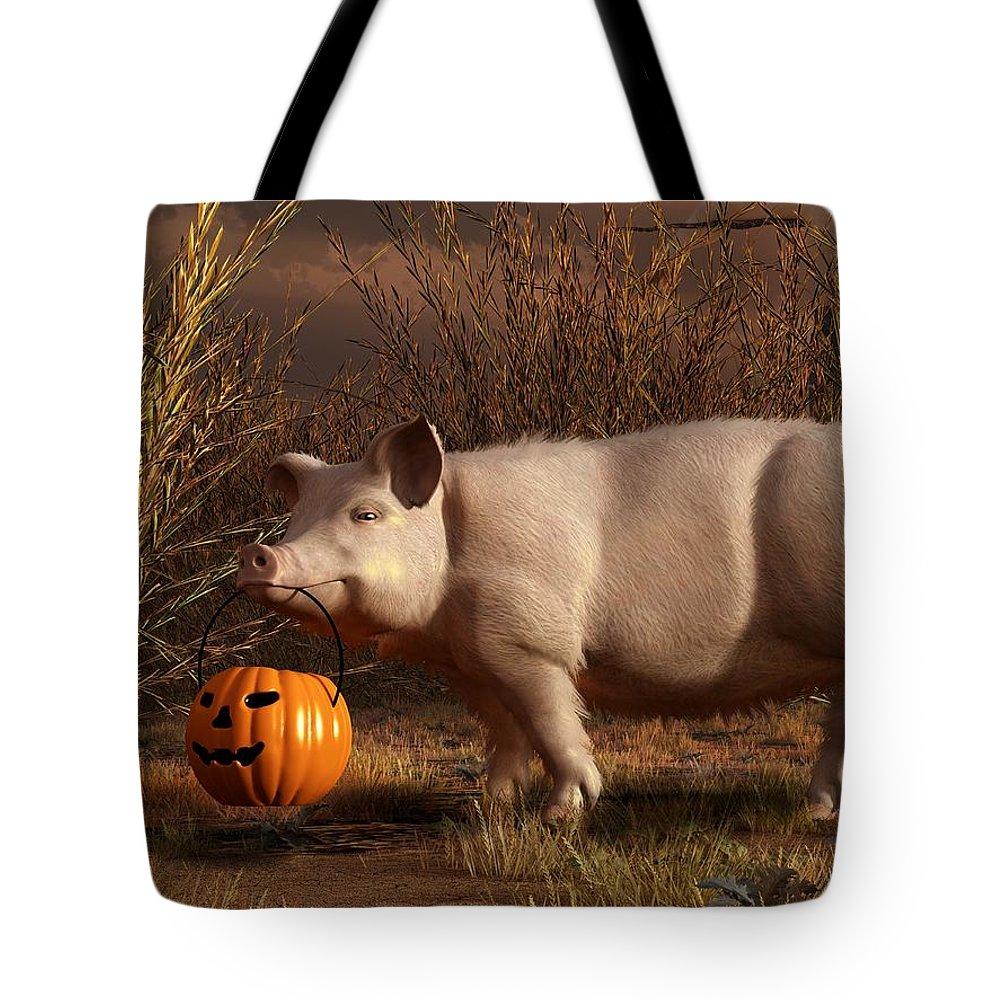 Pig Tote Bag featuring the digital art Halloween Pig by Daniel Eskridge
