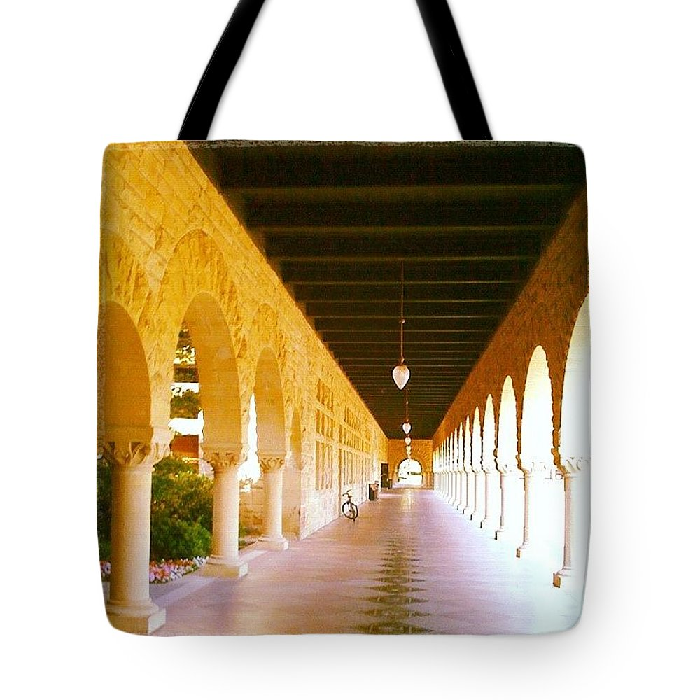Stanford University Tote Bag featuring the photograph Halls Of Learning - Stanford University by Anna Porter