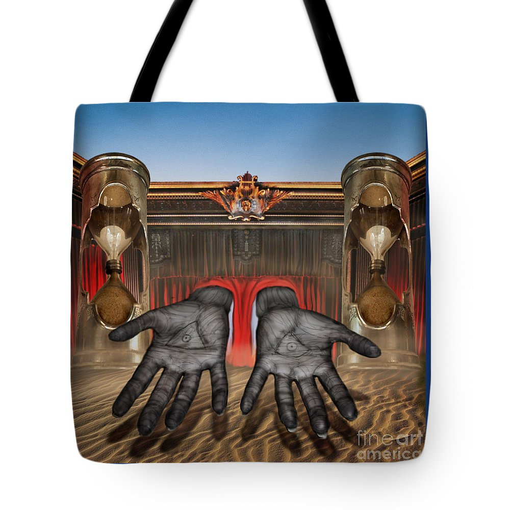 Arkaik Tote Bag featuring the mixed media Hands Of Time Reaches For You by Tony Koehl
