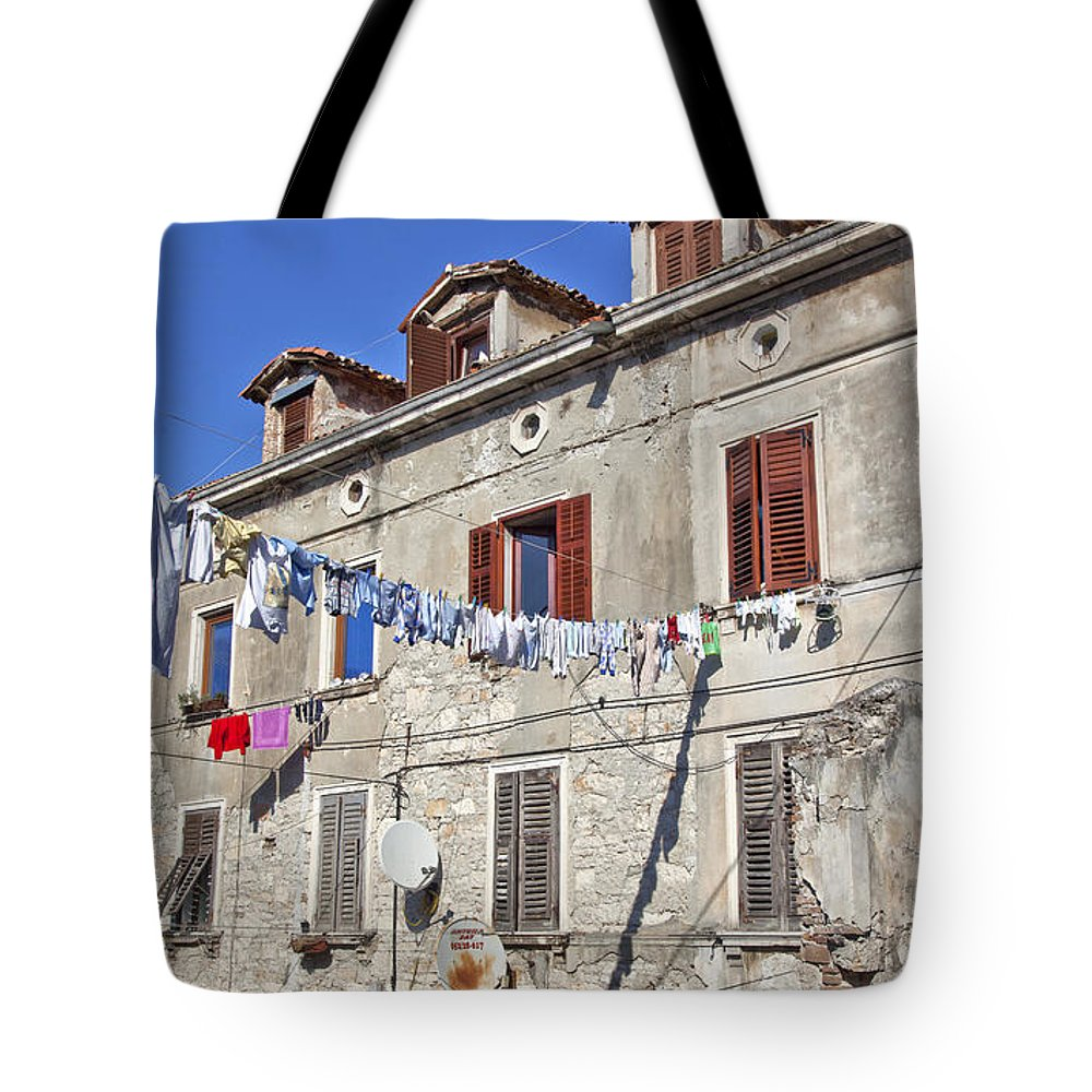 Laundry Tote Bag featuring the photograph Hanging Out To Dry In Rovinj by Madeline Ellis