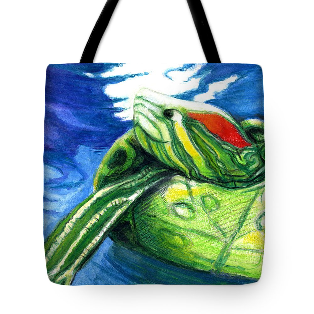 Turtles Tote Bag featuring the painting Happy Turtle by Rene Capone