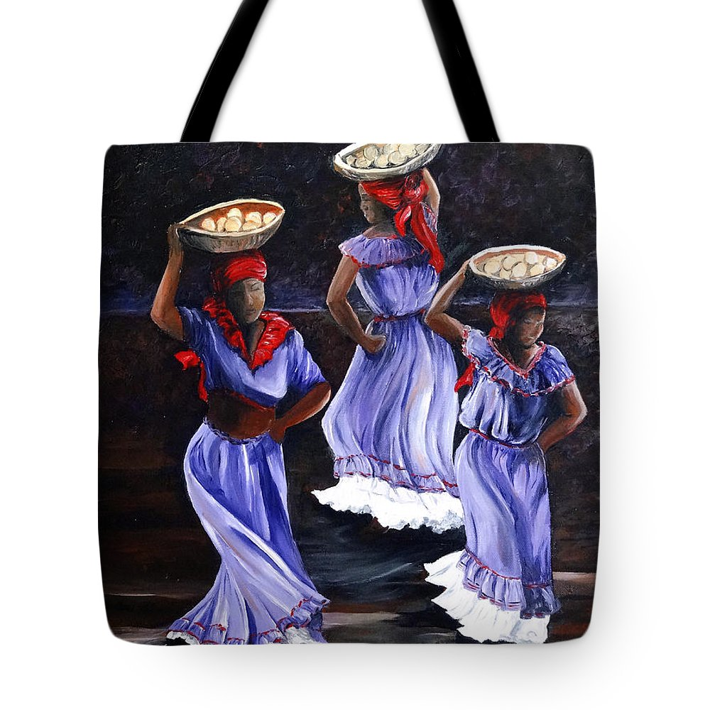 Caribbean Dance Tote Bag featuring the painting Harvest Dance by Karin Dawn Kelshall- Best