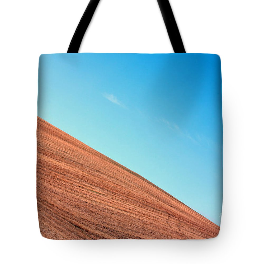 Sky Tote Bag featuring the photograph Harvested Crop Lines And Clear Skies by Simon Bratt Photography LRPS