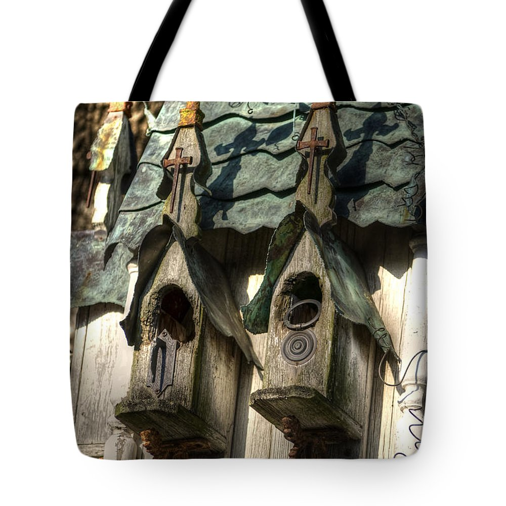 Birds Tote Bag featuring the photograph Haunted Birdhouse by Diego Re
