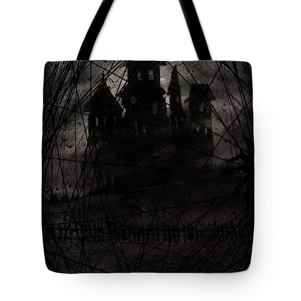 Haunted Tote Bag featuring the digital art Haunted by Rachel Christine Nowicki