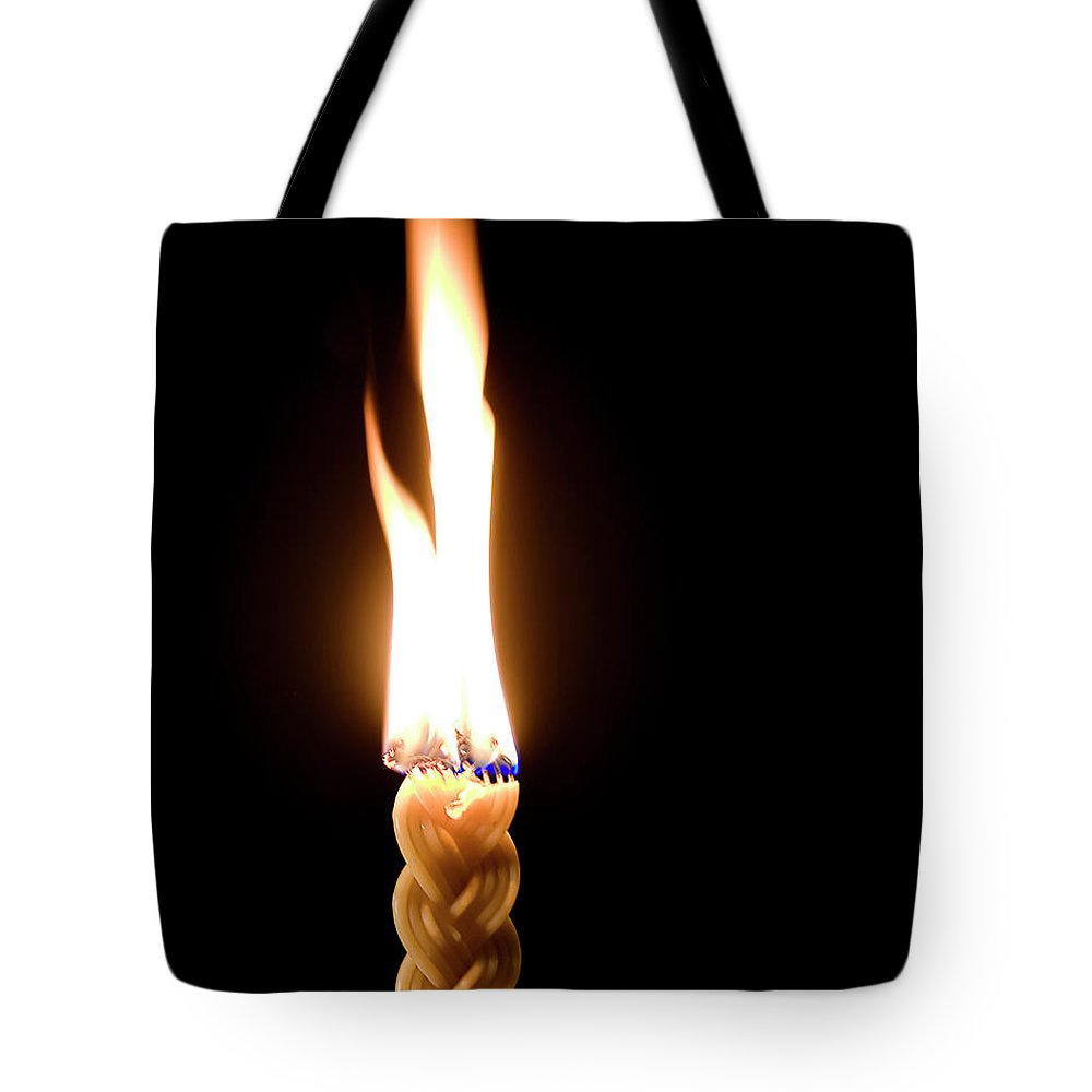 Endre Tote Bag featuring the photograph Havdallah Candle by Endre Balogh