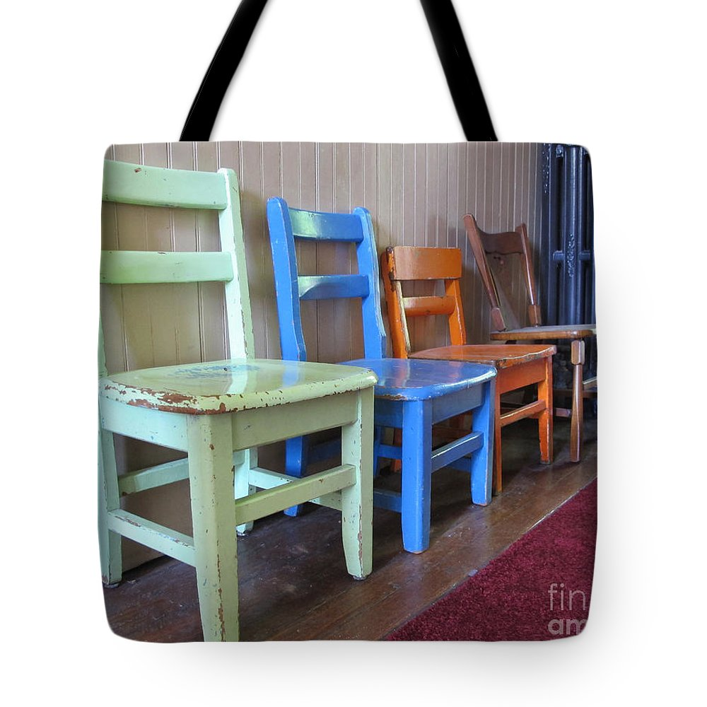 Chair Tote Bag featuring the photograph Have A Seat by Arlene Carmel