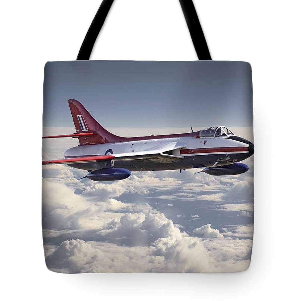 Aircraft Tote Bag featuring the photograph Hawker Hunter by Pat Speirs