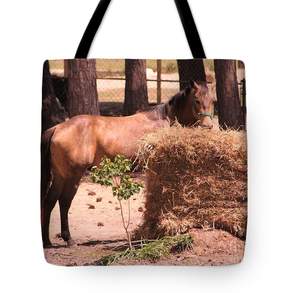 Horse Tote Bag featuring the photograph Hay's For Horses by Michelle Powell