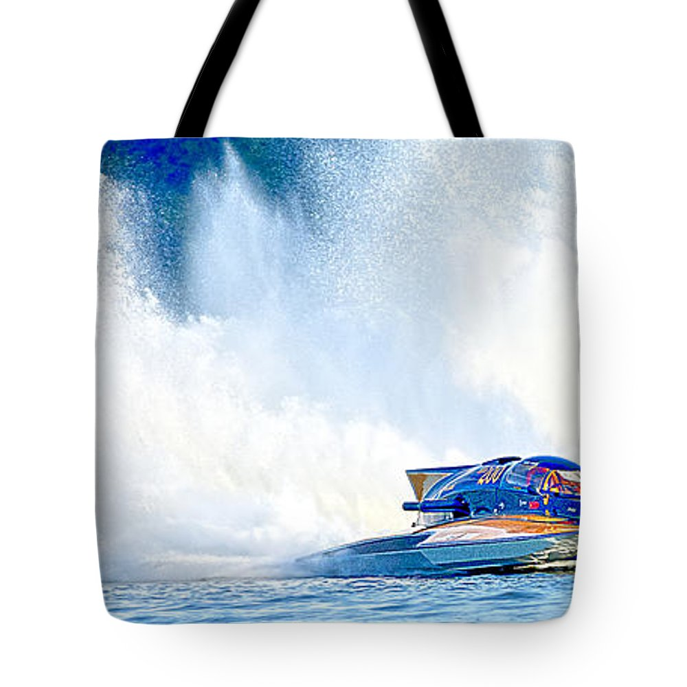 Rocky Fork Thunder Tote Bag featuring the photograph Hdr Pano Thunder On The Lake by Randall Branham