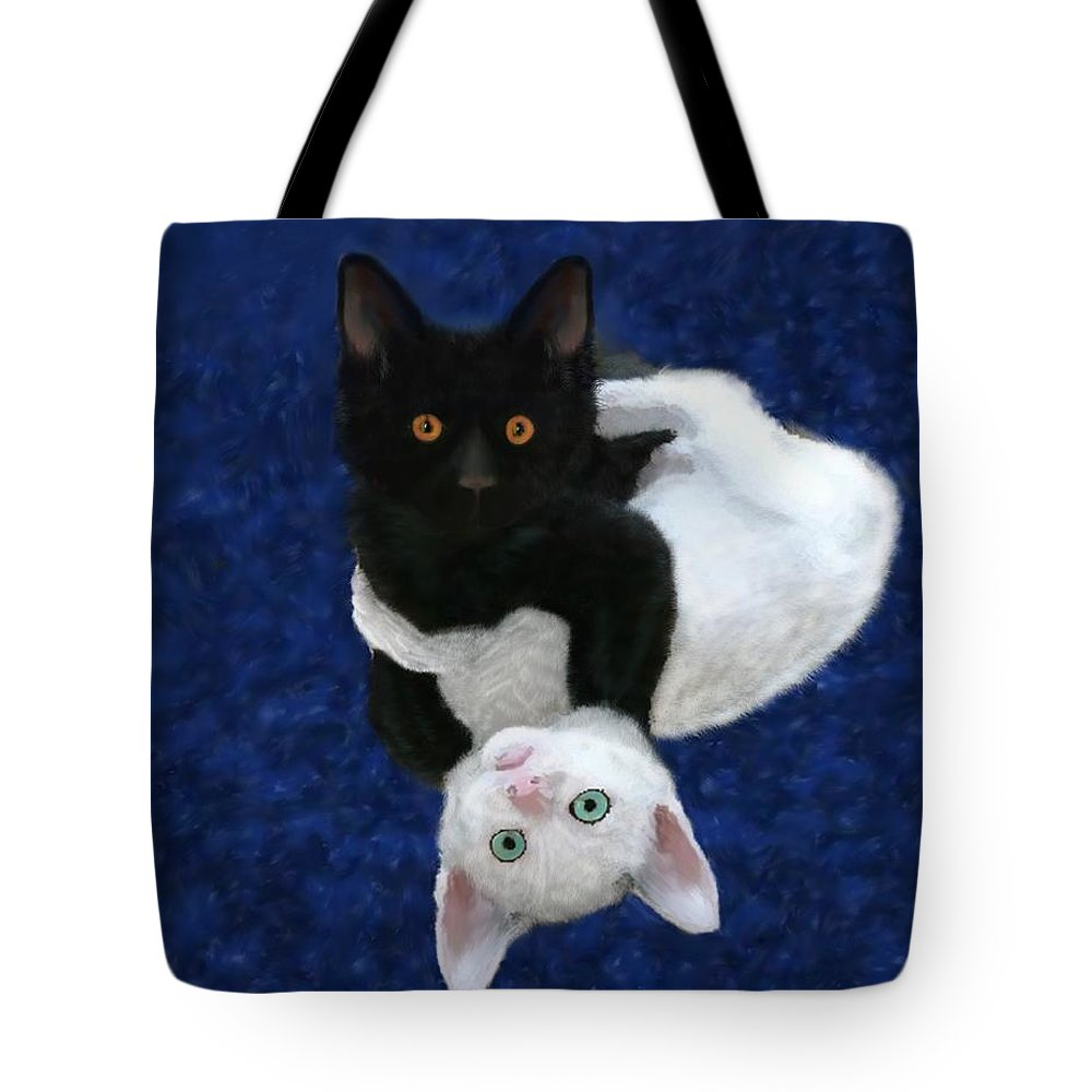 Cat Tote Bag featuring the painting He Did It by Shere Crossman