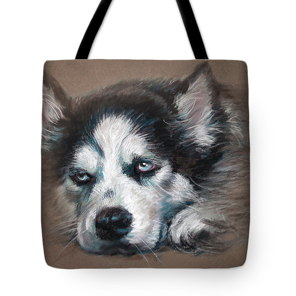 Dog Tote Bag featuring the pastel He Is Watching You by Ylli Haruni