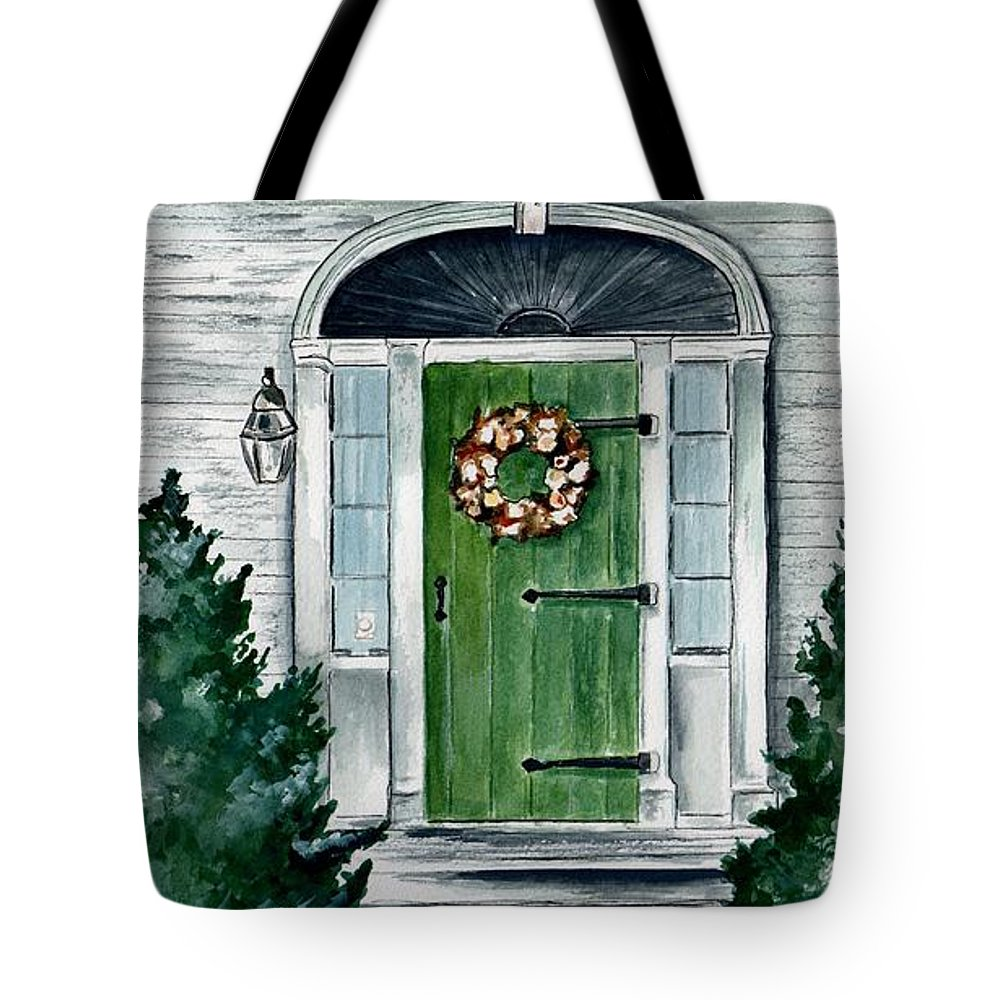 Watercolor Tote Bag featuring the painting Heads Corner Farm Denmark Maine by Brenda Owen
