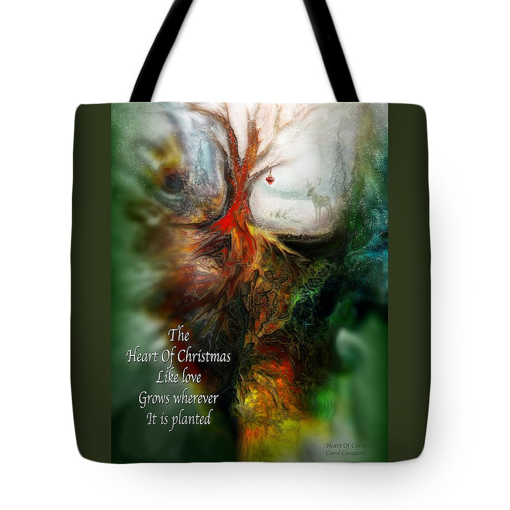 Christmas Card Tote Bag featuring the mixed media Heart Of Christmas Card by Carol Cavalaris