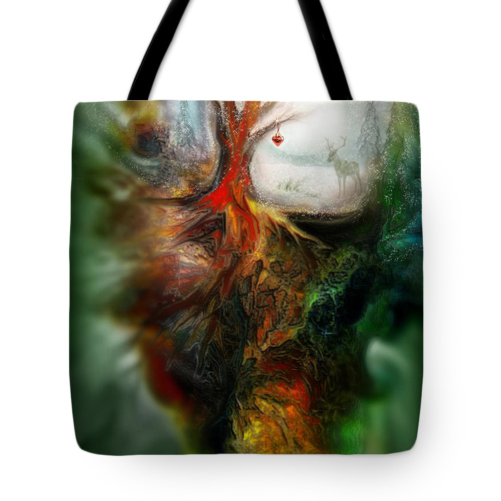 Christmas Tote Bag featuring the mixed media Heart Of Christmas by Carol Cavalaris
