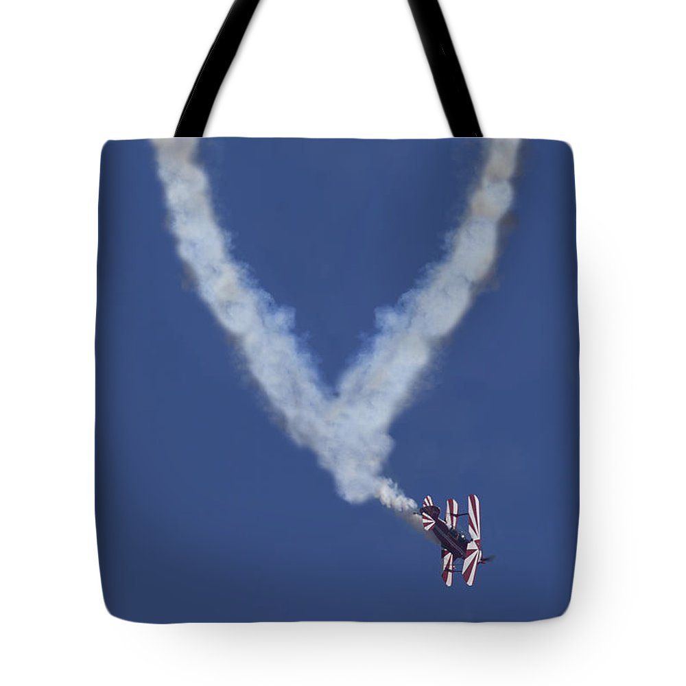 Plane Tote Bag featuring the photograph Heart Shape Smoke And Plane by Garry Gay