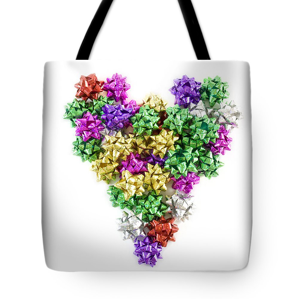 Background Tote Bag featuring the photograph Heart Shaped Christmas Bows by Simon Bratt Photography LRPS