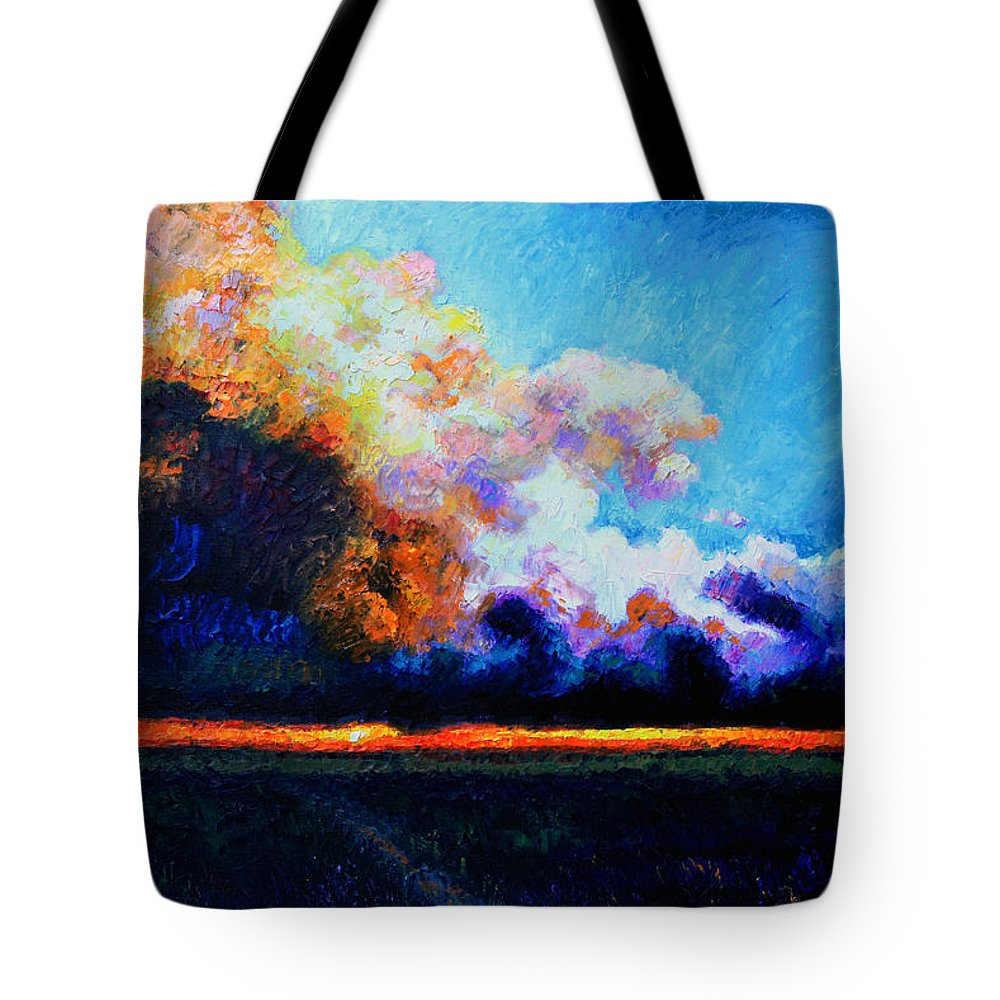 Storm Clouds Tote Bag featuring the painting Hello Darkness My Old Friend by John Lautermilch