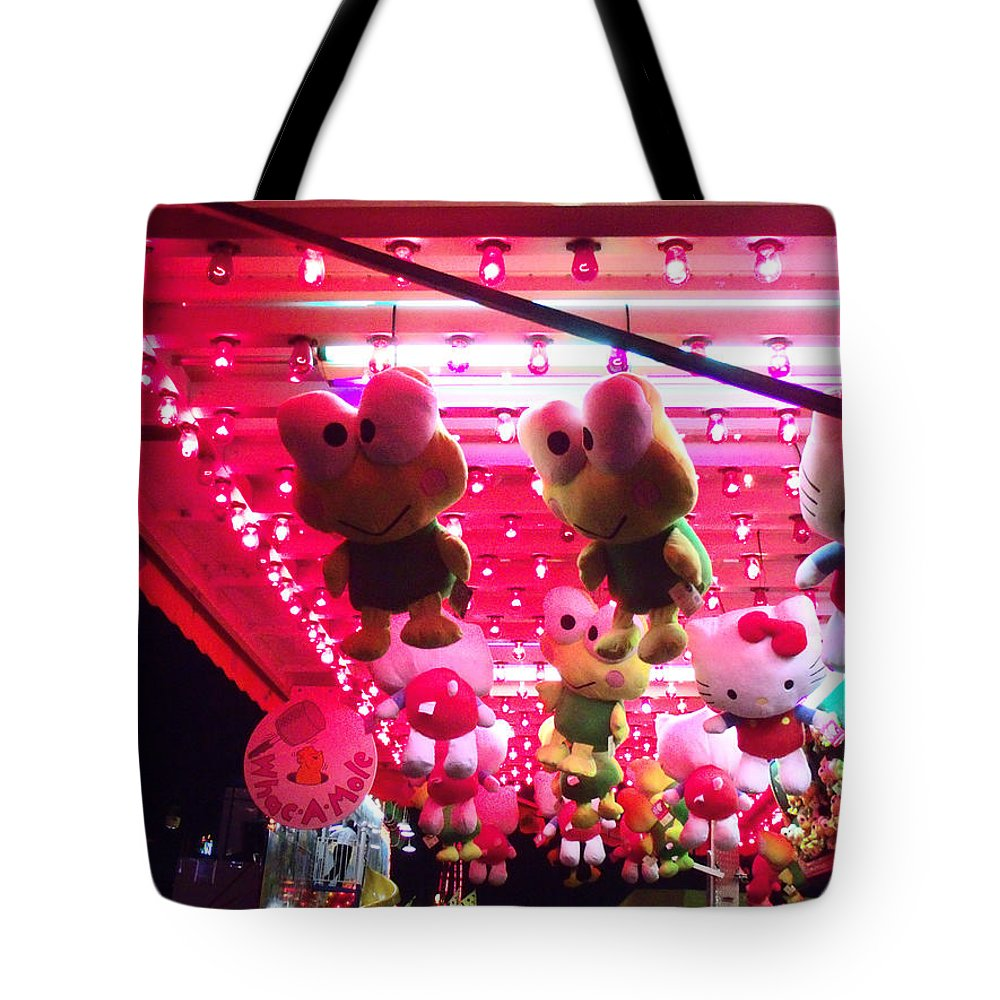 Stuffed Animals Tote Bag featuring the photograph Hello Frog Goodbye Kitty by Kym Backland