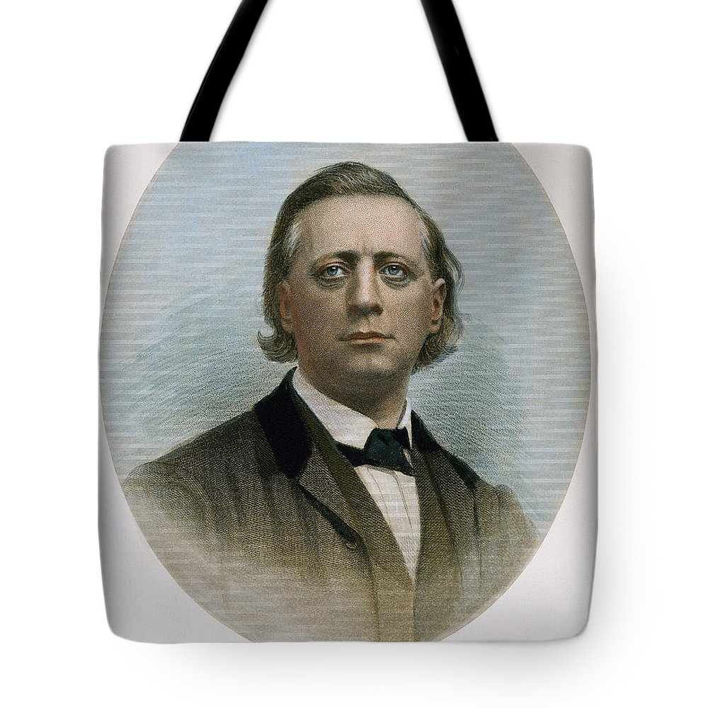 19th Century Tote Bag featuring the photograph Henry Ward Beecher (1813-1887). American Clergyman. At Age 50: Steel Engraving, 19th Century by Granger