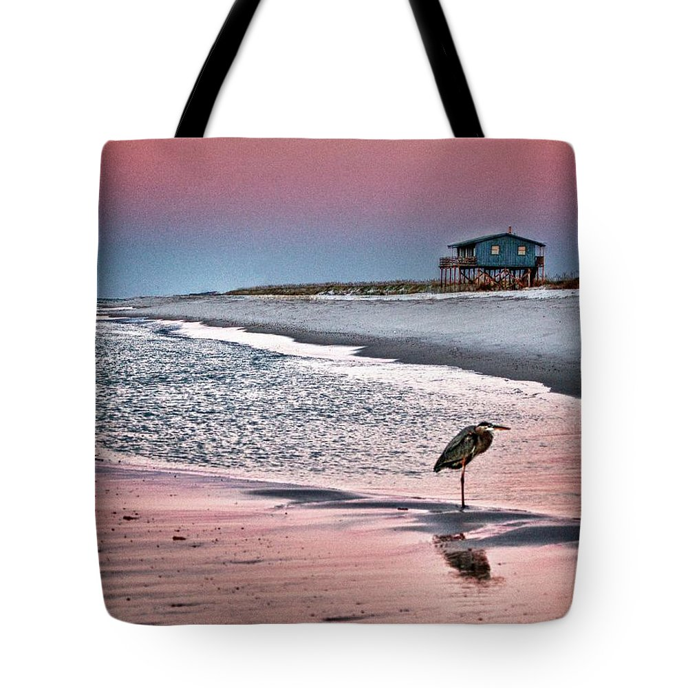 Alabama Photographer Tote Bag featuring the digital art Heron And Beach House by Michael Thomas