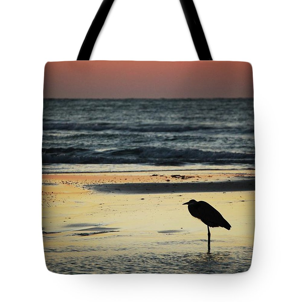 Alabama Photographer Tote Bag featuring the digital art Heron Waiting For The Sunrise by Michael Thomas