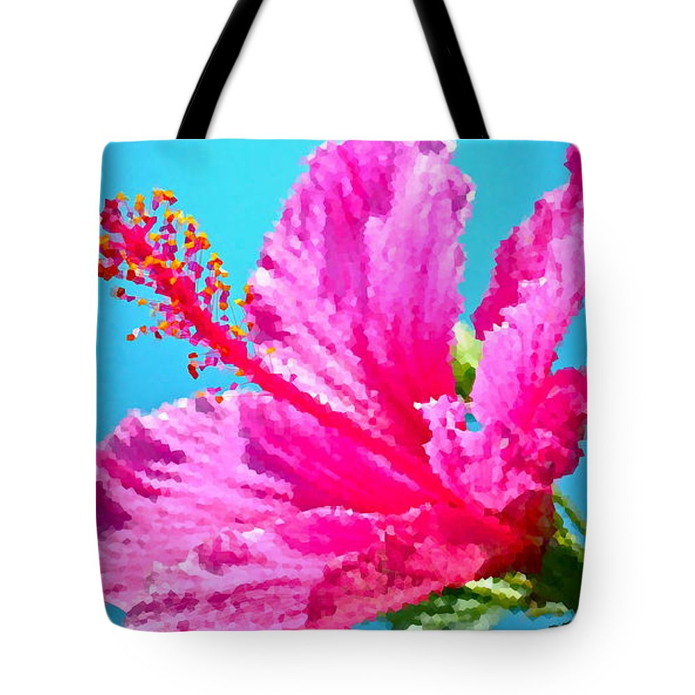 Hibiscus Tote Bag featuring the photograph Hibiscus Crystal Luster by Gwyn Newcombe