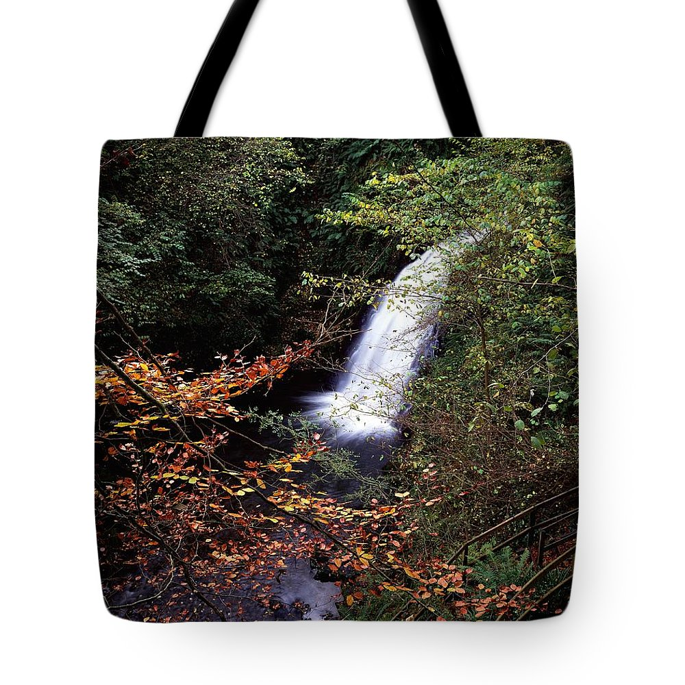 Church Tote Bag featuring the photograph High Angle View Of A Waterfall, Glenoe by The Irish Image Collection